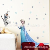 Wholesale 3D Elsa And Olaf Frozen Wall Stickers Decals Home Decor For Kids Room vinilos paredes Gifts DHL
