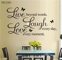 Wholesale DIY Quote Words Decal Live Every Moment Laugh Every Day Love Beyond Wall Sticker