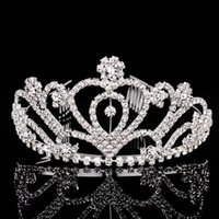 rhinestone hair comb - 5PCS Crystal Princess Crown Tiara Hair Combs Bridal Tiaras Prom Party Hair Jewelry