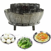 Wholesale Stainless Steel Folding Steamer Steam Vegetable Basket Mesh Cooker Expandable size M