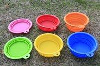 Wholesale 6 colors colorful Grade Fold Pet Bowl Portable Folding Dog cat Bowl Pet Food Dish Pet Feeders