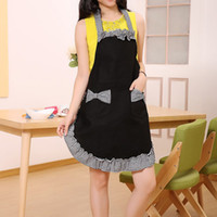 Wholesale Hot Sales Women Restaurant Kitchen BowKnot Lovely Aprons Ladies Cooking Dress Apron with Double Pockets JE0163