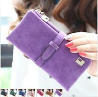 Wholesale 2015 new fashion women wallets drawstring nubuck Leather zipper wallet women s long design purse two fold more color clutch