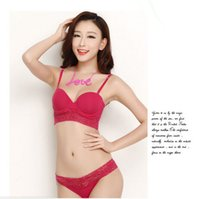 abc wire sales - On sale Surrounded push up bra Pure cotton bra and panties set ABC cup transparent embroidered women sexy underwear lingerie set