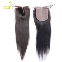 Cheap Brazilian Silk Base Closures 7A Malaysian Peruvian Indian Cambodian Virgin Human Hair Straight Lace Closure Free Middle 3 Part Natural Color