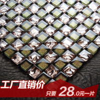 Wholesale Jasmine color crystal glass mosaic entrance modern bathroom TV wall tiling puzzle