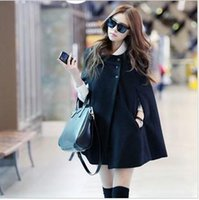 cape coat plus size - 2015 Fashion Womens Black Batwing Cape Wool Poncho Jacket Winter Warm Cloak Coat goose down jacket women