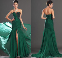 Wholesale Sexy Strapless Prom Dresses Pleated Ruched Chiffon Appliques Front Slit Floor Length Emerald Green Long Trumpet Celebrity Evening Gowns