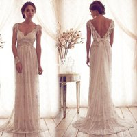 Wholesale 2016 Sexy Anna Campbell Lace Wedding Dresses Sheer Straps Cap Sleeve Beads Backless Sheath Elegant Dress For Bridal Vestidos De Noiva Custom
