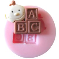 Wholesale 1Pcs Lovely Baby Fondant Mould Baby And Letters Silicone Mold Cake Decorating Tools Soap Mold FM089