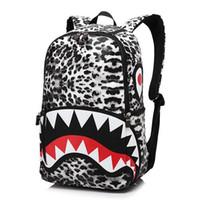 Wholesale Fashion Leather Racksack Satchel Bag Leopard Women Shark Mouth Cool Backpacks Printing Mochilas School Backpack Bolsa Feminina