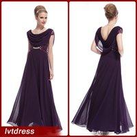 2015 Uva largo encantador vestido de dama de honor una línea cucharada piso palabra de longitud gasa Ruffles lentejuelas Eveninbg vestidos