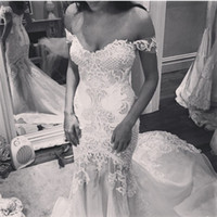 Wholesale New Arrival Beaded Wedding Dresses Mermaid Lace Appliqued Off The Shoulder Sweep Train Organza Bridal Gown
