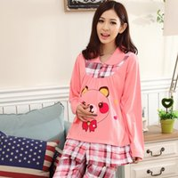 Wholesale Autumn knitted cotton knit long sleeve pajamas double fabric feeding breastfeeding clothes month of service for pregnant women P