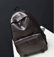 Wholesale 2016 New designer fashion black men s backpacks preppy style brown women high quality leather shoulder bag mochila feminina M53