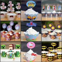 paper cupcake box - 32 Kinds Cartoon Paper Cupcake Wrapper Decorating Boxes Cake Cup With Toppers Picks For Kids Birthday Xmas Decorations Supplies Party Favor