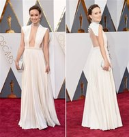 Wholesale Olivia Wilde th Academy Awards Oscars Celebrity Red Carpet Dressese Backless Prom Dress Floor Length Ruched