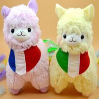 baby lamas - 35cm cm Juguetes Japan Alpaca Plush Toys Wearing Flags Colors Pelucia Stuffed Animals Lama Sheep Peluches Alpacasso Baby Doll