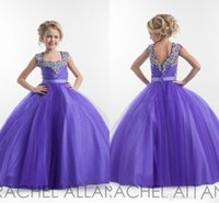 Robes paginées Avis-Purple Flower Girl Dresses Square Neckline Cristaux Sparkly Beaded Tulle Floor Length Open Back Robe de fête d'anniversaire Robe Pagent Robes de bal