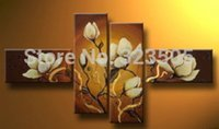 white flower oil - abstract modern panel canvas wall art handmade white Orchid flower oil painting on canvas living room decoration Kitchen