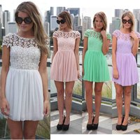 embroidered chiffon lace - New Women Lace Crochet Mini Dress Tropical Floral Open Back Backless Summer Dress High Street Embroidered Chiffon Skater Dress G0941
