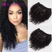 Wholesale Kinky curly Clip in Chinese human hair virgin human hair extensions g kinky curly clip in human hair extensions for black women