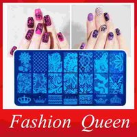 Wholesale 10pcs New X12cm Rectangular Nail Stamping Plates Flower Lace Design Nail Art Polish Stamp Template Manicure Tools