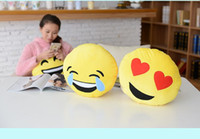 Wholesale 2015 soft Cushion cute lovely Emoji smiley pillow expression cartoon facialcreative pillows round stuffed plush toy gift for kids