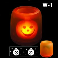 Wholesale 1000pcs Halloween Electronic LED Voice Control Pumpkin Skull Candle Light Magic LED Candles for Xmas Halloween Party with Color Box CW0317