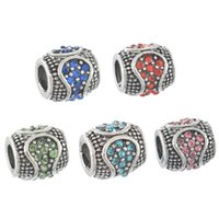 Wholesale 5PCs Mixed Arc shaped Rhinestone Barrel Pattern Charm Beads Fit European Charm Bracelet