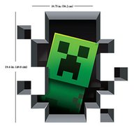 Wholesale 2014 Christmas ornament Minecraft Wall Stickers Creeper Decorative Wall Decal D Cartoon Wallpaper Kids Party Room Decoration Wall Art hot