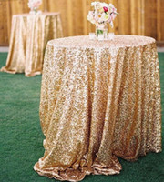 table cloths - 2015 Bling Rose Gold Sequins Wedding Party Round Table Cloth Wedding Decorations Silver Purple Royal Blue Pink Dress Fabric