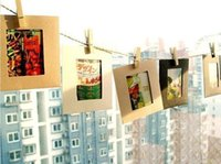Wholesale 6 quot set Colorful Washing Line Hanging Gallery on Line Paper Photo Frames Wooden Clip Rope