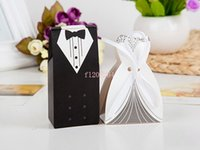 Wholesale Newest Wedding Favor Box Bride and Groom Gift Candy Box with Ribbon pairs
