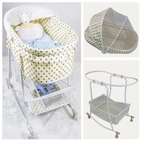 Wholesale Breathable Cotton Cloths Baby Swing Bed Iron Baby Cradle Baby Lounge Beige Color With Dot Baby Rocking Crib Retail