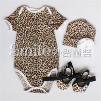 beanie shoes - baby girl infant toddler pc cute outfits rose flower floral leopard cotton onesies romper rosette hat cap beanie bowknot shoes sets