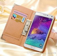 For Samsung Leather Fitted Case PU Leather Case Bling Luxury Rhinestone wallet case for samsung galaxy Note 3 N9000 Note 4