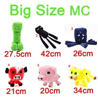 Big Size MC Peluche Jouets Big Types Creeper Squid Enderman Porc Mushroom Ocelot Cat Grande Mine Monde Animal Rembourré Enfant Cadeau de Noël anniversaire