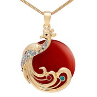 Wholesale Animal Necklace New fashion Peacock Gold Plated Necklace Crystal Rhinestone Four Colors Necklace Sweater Chain