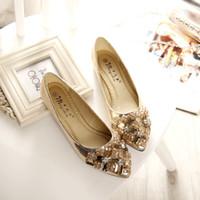 venda por atacado sapatos de luxo-2016 sapatas das mulheres da forma O Rhinestone apontou as mulheres lisas das sapatas do dedo do pé se curvou com o diamante mulheres sapatas mulheres rhinestone luxuosos flats as mulheres