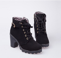Wholesale Cheap Autumn Winter Women Boots High Quality Solid Lace up European Ladies PU Leather Fashion Boots Free XWX367