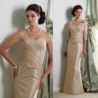 Wholesale 2016 Jacket Lace Mother of the Bride Dresses with Sheer Strapless Half Sleeve Champagne Long Satin Mother Formal Dress