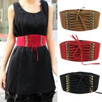Wholesale Hot Sales Lady Women Waistband Belts Strap Buckles Cinch Corset Elastic Skinny Vintage Fashion IX240