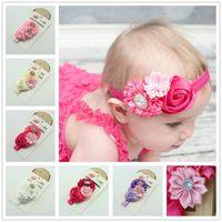 Wholesale Baby Girl Headbands Shabby Chiffon rose red Flower Hair Bow Rhinestone Hairband Headwear Head Band