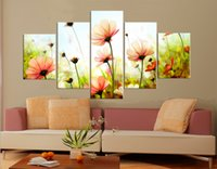 Cheap 5 Pieces Free Shipping Hot Sell Modern Art Picture Wall Painting Paint on Canvas Prints The spring bloom in the charming wild daisies