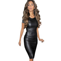 Wholesale 2015 Fashion Newest Women Bandage Dress Ladies PU Dress Leather Short Sleeve Women Crew Neck Bodycon Midi Dress