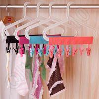 Wholesale 300PCS LJJH1265 Hot Sell clip Portable fabric hangers Travel folding hangers The bathroom hanging bar Cloth clip