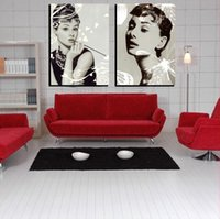 audrey hepburn drawings - 2 panel modern romantic home decoration combinative canvas painting Audrey Hepburn Monroe picture on Frameless draw