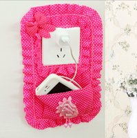 Wholesale Creative Cute Houseware Pastoral Fabric Switch Stickers Fashion With Pocket Socket Sets Phone Charging Companion Key Bags cm jk0027