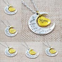 Pendant Necklaces Bohemian Unisex Unique Gifts Vintage Best Friends Family Love Moon LOVE Pendant Necklace Chain Necklaces For Friendship Lover Family Gifts 12pcs lot